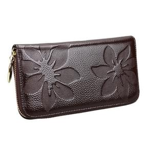 91 Litchi textuur vrouwen grote capaciteit hand wallet portemonnee telefoon tas met kaartsleuven (koffie)