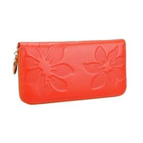 91 Litchi textuur vrouwen grote capaciteit hand wallet portemonnee telefoon tas met kaartsleuven (oranje)