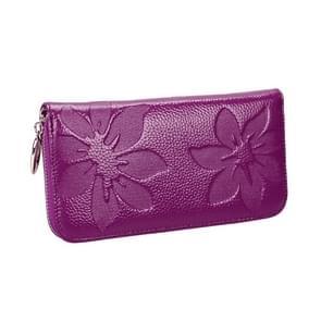 91 Litchi textuur vrouwen grote capaciteit hand wallet portemonnee telefoon tas met kaartsleuven (paars)