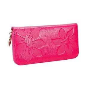 91 Litchi textuur vrouwen grote capaciteit hand wallet portemonnee telefoon tas met kaartsleuven (Rose rood)