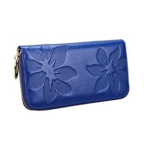 91 Litchi textuur vrouwen grote capaciteit hand wallet portemonnee telefoon tas met kaartsleuven (Sapphire Blue)