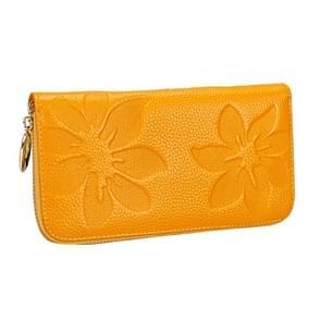 91 Litchi textuur vrouwen grote capaciteit hand wallet portemonnee telefoon tas met kaartsleuven (geel)