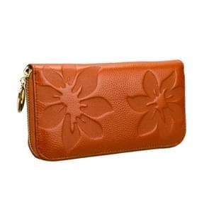 91 Litchi textuur vrouwen grote capaciteit hand wallet portemonnee telefoon tas met kaartsleuven (bruin)