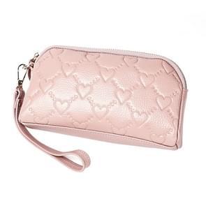 2025 multifunctionele Litchi textuur vrouwen grote capaciteit hand portemonnee shell tas met kaartsleuven (lichtroze)