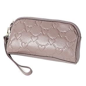 2025 multifunctionele Litchi textuur vrouwen grote capaciteit hand portemonnee shell tas met kaartsleuven (bleke roze grijs)