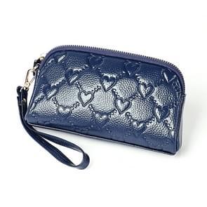 2025 multifunctionele Litchi textuur vrouwen grote capaciteit hand portemonnee shell tas met kaartsleuven (Sapphire Blue)