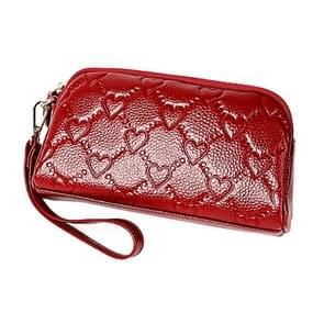 2025 multifunctionele Litchi textuur vrouwen grote capaciteit hand portemonnee shell tas met kaartsleuven (wijn rood)