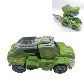 HG-882 Electric Dinosaur Deformation Car Toy Universal Light Music Toy (Groen)