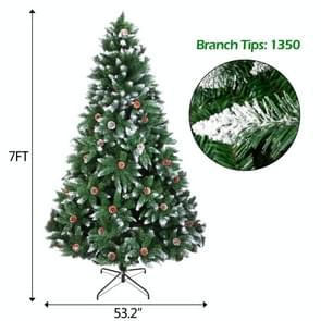 [US Warehouse] 7FT Indoor Outdoor Christmas Holiday Decoration Flocking Spray White Christmas Tree met 1350 Branches & Pine Cones