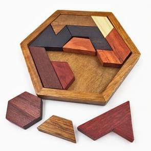 Children Wooden Toys Hexagon Puzzle Geometric Abnormity Shape Puzzle Tangram