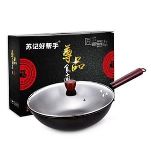 Snelle verwarming niet-gecoate non-stick flat-bottomed Wok Fine Iron Pan voor gasfornuis inductiefornuis  monddiameter: 32cm