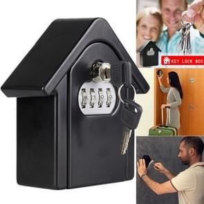 Hut Shape Password Lock Storage Box Security Box Wall Cabinet Safety Box (Black)