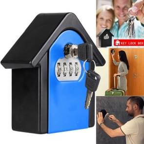 Hut Shape Password Lock Storage Box Security Box Wall Cabinet Safety Box (Blue)