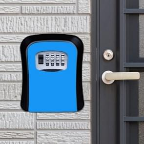 Password Lock Metal Storage Box Door Security Box Wall Cabinet Key Safety Box (Blue)
