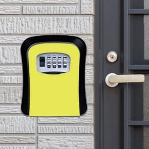 Password Lock Metal Storage Box Door Security Box Wall Cabinet Key Safety Box (Yellow)