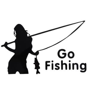 Beauty Go Fishing Styling Reflective Car Sticker, Size: 14cm x 8.5cm(Black)