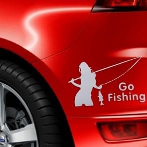 Beauty Go Fishing Styling Reflective Car Sticker, Size: 14cm x 8.5cm(Silver)