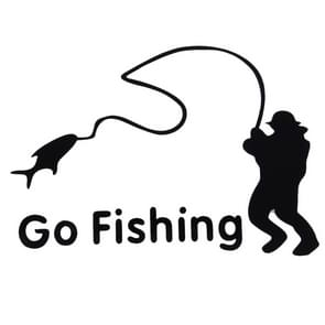 Go Fishing Styling Reflective Car Sticker, Afmeting: 14cm x 9.5cm(zwart)