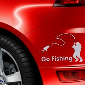 Go Fishing Styling Reflective Car Sticker, Size: 14cm x 9.5cm(Silver)