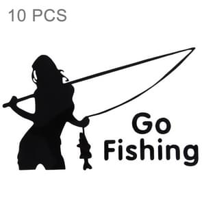 10 PCS Beauty Go Fishing Styling Reflective Car Sticker, Size: 14cm x 8.5cm(Black)