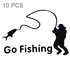 10 PCS Go Fishing Styling Reflective Car Sticker, Size: 14cm x 9.5cm(Black)
