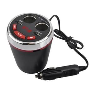 A23 Multi-function Car Kit Bluetooth Charger Cigarette Lighter, Support Bluetooth / TF Card / USB Disk / USB(Red)