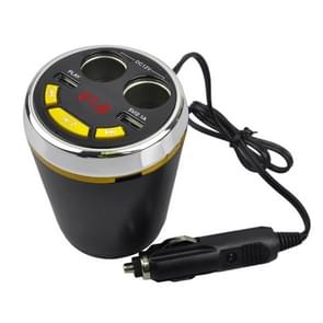 A23 Multi-function Car Kit Bluetooth Charger Cigarette Lighter, Support Bluetooth / TF Card / USB Disk / USB(Yellow)