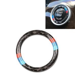 Car Carbon Fiber Soft Panel Engine Start Key Push Button Ring Trim Decorative Sticker for BMW E90 / E92 / E93  2005-2012