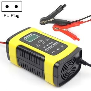 FOXSUR 12V 6A Intelligent Universal Battery Charger for Car Motorcycle, Length: 55cm, EU Plug(Yellow)