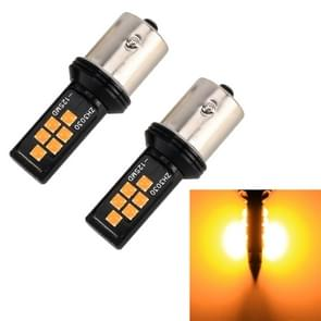 2 stuks 1156 DC9-16V/3.5 W auto auto turn Lights 12LEDs SMD-ZH3030 lampen  met constante stroom (geel licht)