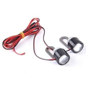 2 PCS 12V 3W  White Light Eagle Eyes LED Strobe Light For Motorcycle ?Wire Length: 90cm