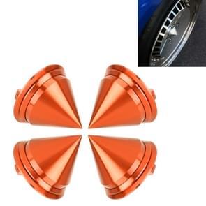 4 PCS Car Tyre Hub Centre Cap Cover (Orange)