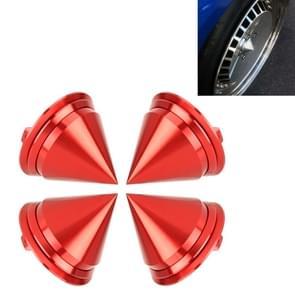 4 PCS Car Tyre Hub Centre Cap Cover (Red)