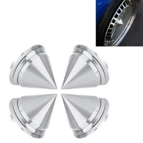 4 PCS Car Tyre Hub Centre Cap Cover (Silver)