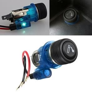 Auto 10A 12V Europese standaard sigarettenaansteker volledige montage met licht (blauw)