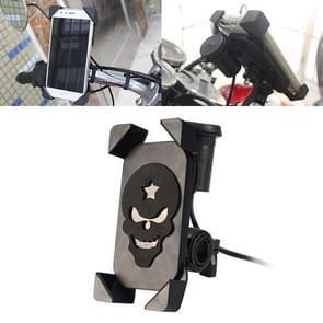 Draagbare motorfiets USB-oplader mobiele telefoon houder  stuur versie (zwart)