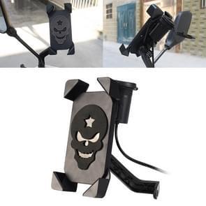 Draagbare motorfiets USB lader mobiele telefoon houder  achteruitkijkspiegel versie (zwart)