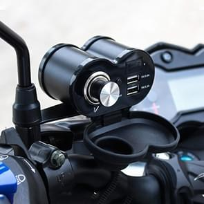 Draagbare motorfiets aluminium legering Dual USB lader sigarettenaansteker (zwart)