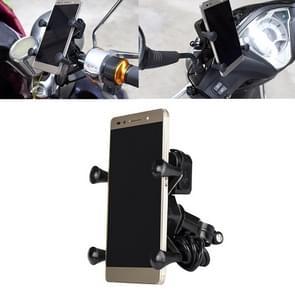 12-45V draagbare motorfiets X-type automatische vergrendeling USB-oplader mobiele telefoon houder
