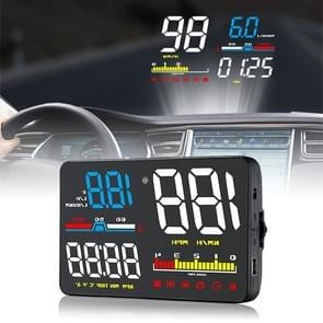 D5000 OBD2 5 inch Vehicle-mounted Head Up Display Security System, Support Car Speed / Engine Revolving Speed Display / Water Temperature / Battery Voltage / Detection and Elimination Fault Code