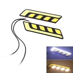 2 PC's DC 12V 10W 800LM 5500K auto DRL Daytime Running Lights Lamp  kabel lengte: 25 cm (licht wit + geel licht)
