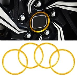 4 PCS Car Metal Wheel Hub Decoration Ring for BMW 5 Series 2018 (Gold)