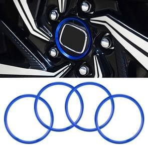 4 PCS Car Metal Wheel Hub Decoration Ring for BMW 5 Series 2018 (Blue)