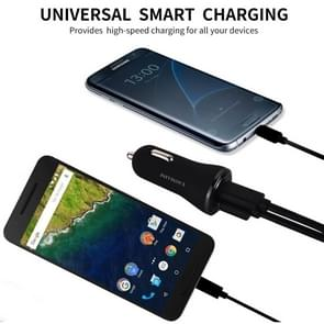 YAOMAISI Y-01 5V 3A Output QC3.0 + Type-C Dual Ports Smart Car Charger, For iPad , iPhone, Galaxy, Huawei, Xiaomi, LG, HTC and Other Smart Phones, Rechargeable Devices(Black)