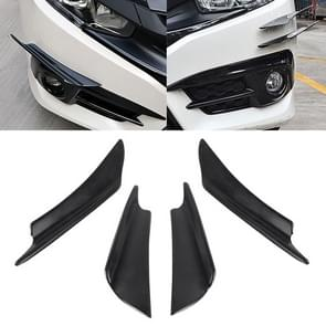 4 PCS Universal Black Car Front Bumper Body Spoiler Lip Splitter Protector Bar Strip Guard Sticker
