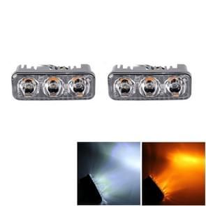 2 PC's DC 12V 6W 400 LM 6000K Tri circulaire auto DRL & beurt licht (licht wit + geel licht)  kabellengte: 50cm