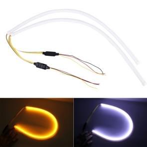 2 PC's 12V auto Daytime Running Lights zachte artikel Lamp met Water vloeiende Effect  wit + geel licht  lengte: 60cm