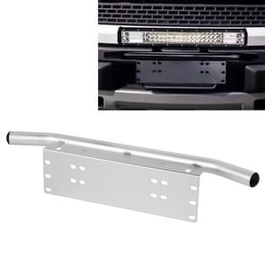 Jtron Light Universal License Plate Bumper Frame for Off-Road Jeep LED Work Light Bar Mounting Bracket with Front Bucket (Silver)