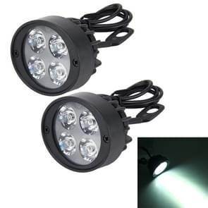 2 stk 12W 6000K 900LM 4 LED motorfiets externe Spotlights Super helder licht voor locomotief  DC 10-30V  kabel lengte: 65cm (wit licht)