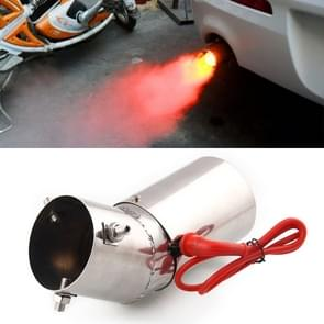 Universal Car / Motorcycles Styling Round Stainless Steel Exhaust Pipe Spitfire Red Light Decoration Flaming Muffler Tail Muffler Tip Pipe